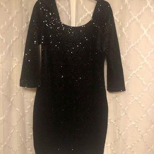 Women black sequined mini dress